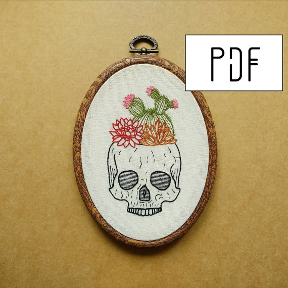 Cactus and Succulent Skull Planter Hand Embroidery Pattern (succulent embroidery - cactus embroidery)