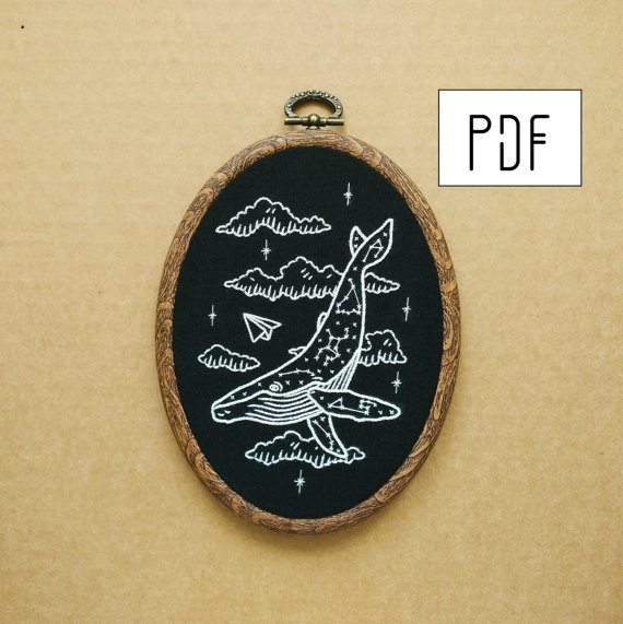 Constellation Humpback Whale Hand Embroidery Pattern