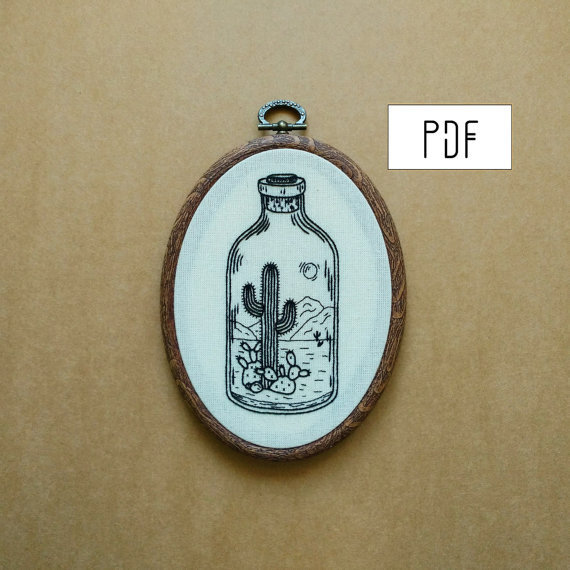 Desert in a Bottle Hand Embroidery Pattern (cactus embroidery - succulent embroidery)