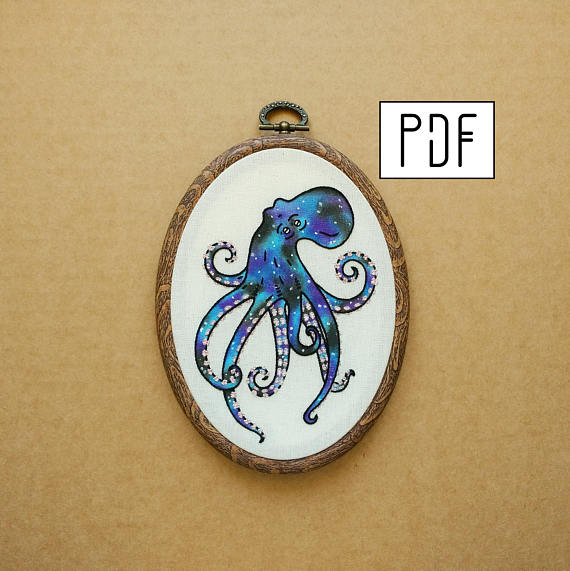 Four Eyed Galaxy Octopus Hand Embroidery Pattern