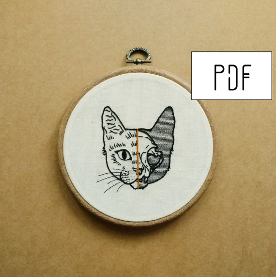 Half Cat Skull Hand Embroidery Pattern