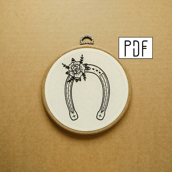 Horseshoe with Rose Hand Embroidery Pattern