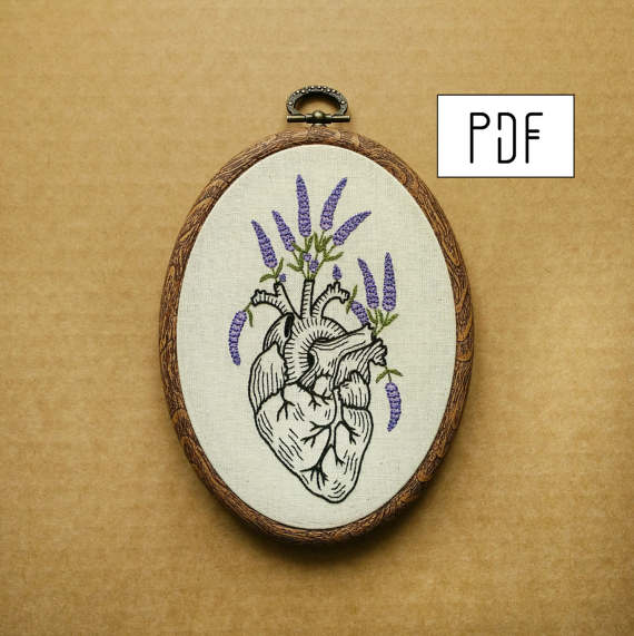 Lavender Human Heart Hand Embroidery Pattern