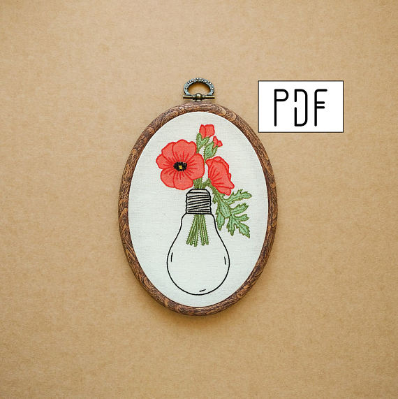 Poppies in a Light Bulb Hand Embroidery Pattern