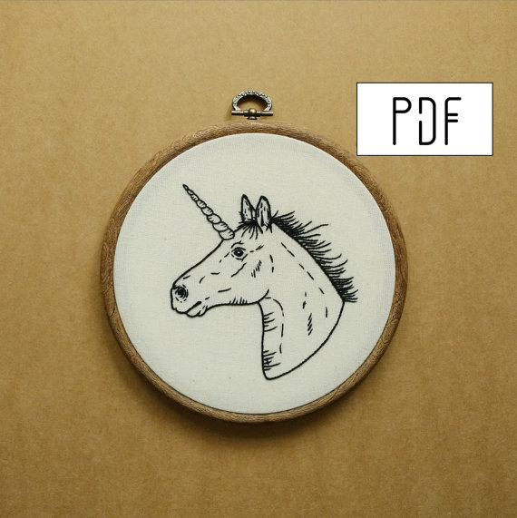 Unicorn Horse Tattoo Hand Embroidery Pattern