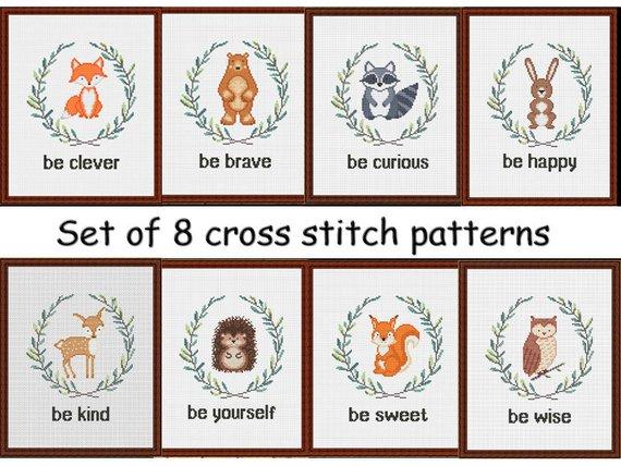 Cross stitch pattern baby nursery animals /Set of 8