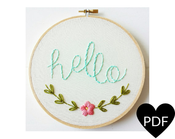 Hello Hand Embroidery Pattern. Printable Stitching Pattern