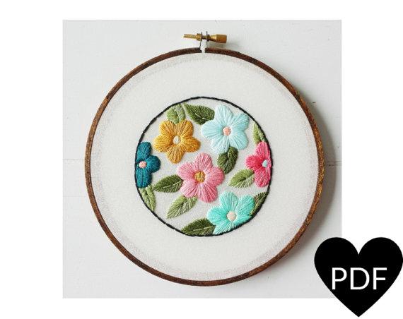 Patrón PDF Vintage inspirado en flores