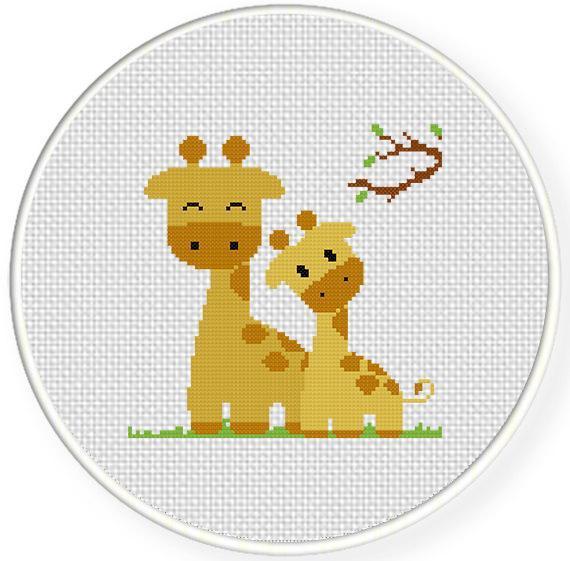 Giraffe Mom and Baby Cross Stitch Pattern