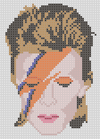 David Bowie Tribute Cross Stitch Pattern