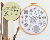 Christmas Diy kit cross stitch craft kit SNOWFLAKES & STARS