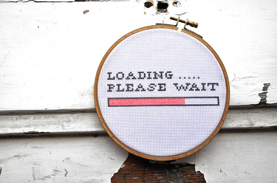 Cross stitch quotes LOADING PLEASE WAIT nerd funny cross stitch