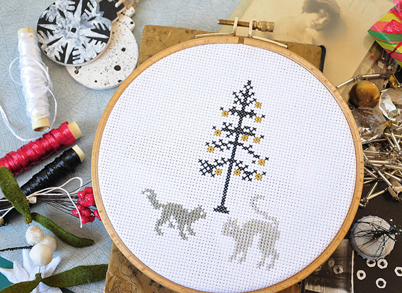 Hand Embroidered Cat Pattern