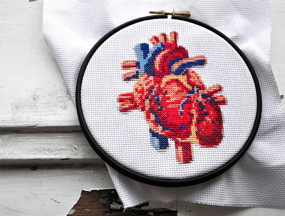Heart hand embroidery pattern