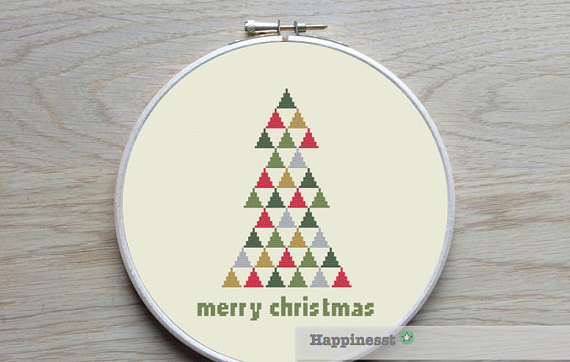 Christmas cross stitch pattern, modern christmas tree
