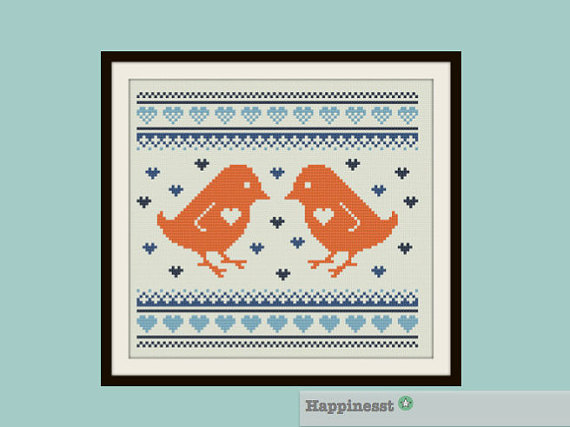 Cross stitch pattern birds love