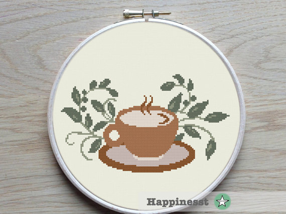 Cross stitch pattern coffee