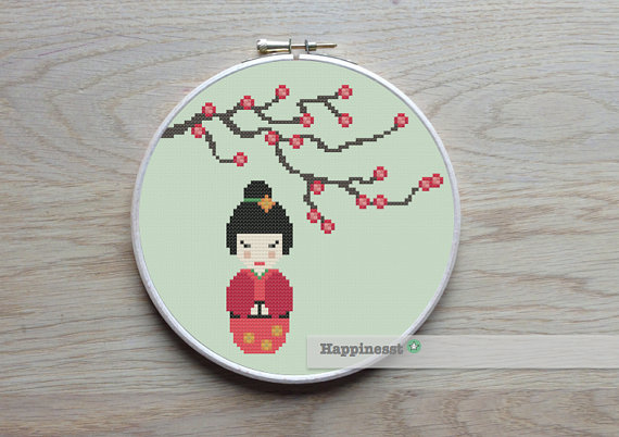 Cross stitch pattern Kokeshi