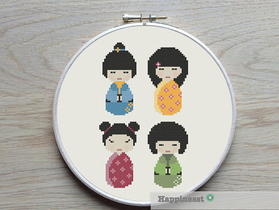 Cross stitch pattern Kokeshi dolls