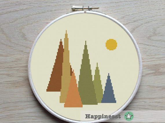 Cross stitch pattern mountains