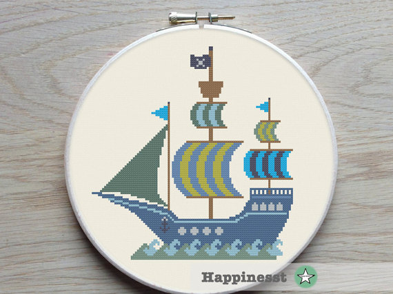 Cross stitch pattern pirate ship