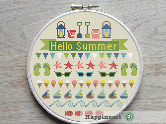 Cross stitch pattern Summer, 4 seasons
