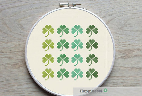 Modern cross stitch pattern shamrock