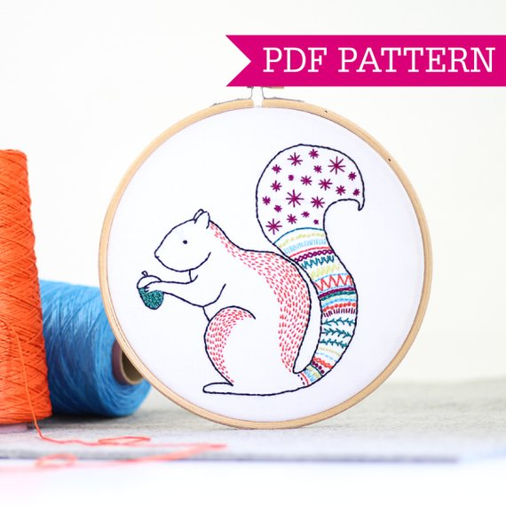 Squirrel PDF Embroidery Pattern