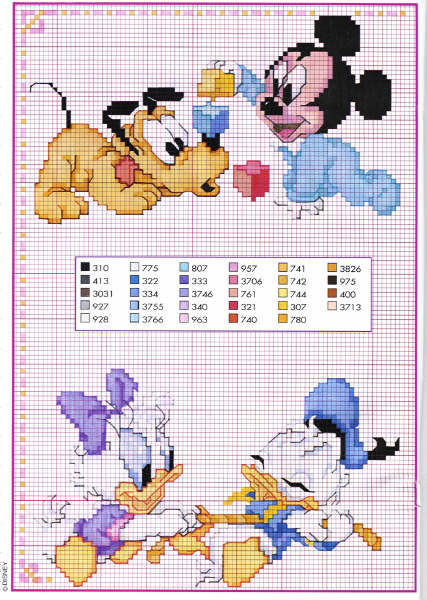 Baby Disney Characters Cross Stitch Pattern