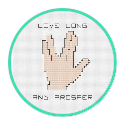 Live Long and Prosper Cross Stitch Pattern - Star Trek
