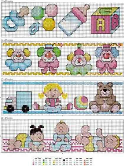 Patrones de motivos para bebés a punto de cruz