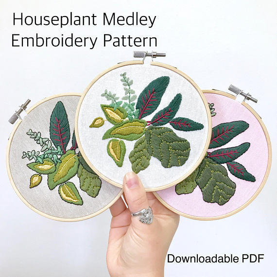 Houseplant Medley Botanical Embroidery Pattern