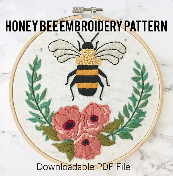 June Honey Bee Embroidery Pattern with Floral Wreath