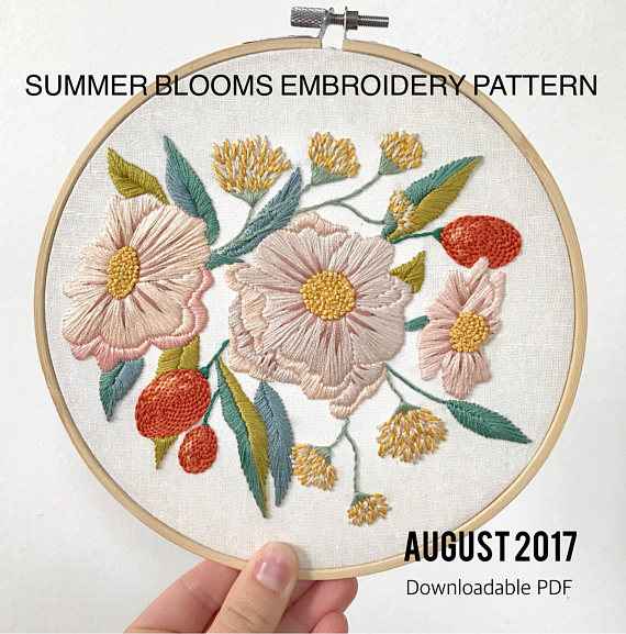 Summer Blooms Floral Embroidery Pattern