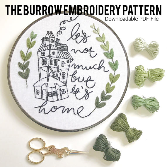 The Burrow Embroidery Pattern. Harry Potter Art DIY
