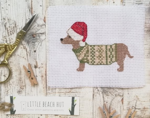 Dachshund cross stitch pattern - sausage dog cross stitch