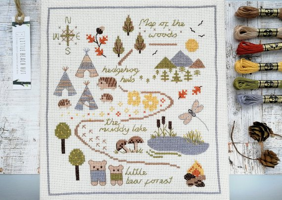 Map of the woods cross stitch kit