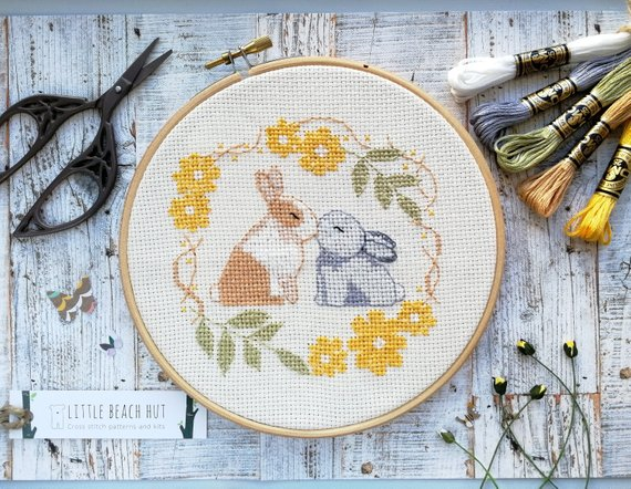Wedding cross stitch kit - rabbit design, rabbit wedding gift
