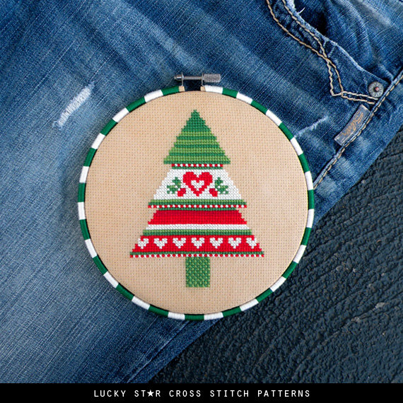 Christmas Tree Counted Cross Stitch Pattern PDF – Christmas Gifts Crafts – Xmas Holiday Patterns – Scandinavian - Cute Christmas Décor – DIY