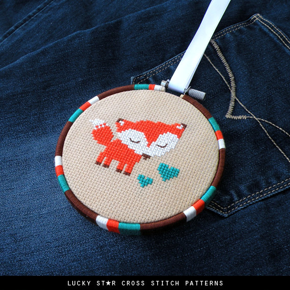 Cute Orange Fox Counted Cross Stitch Pattern PDF