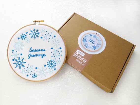 Christmas Embroidery Kit, Seasons Greetings Needlework