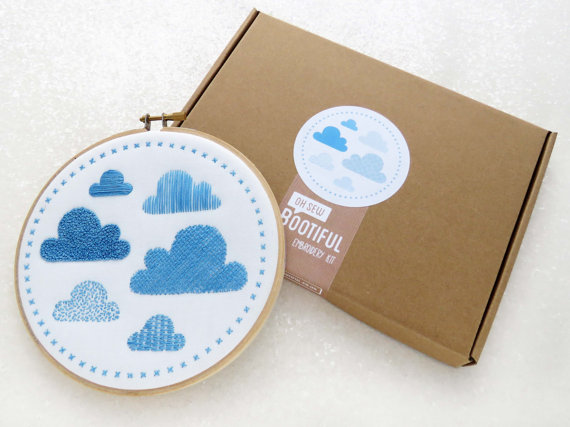 Modern Sampler Embroidery Kit. Clouds Embroidery Kit.