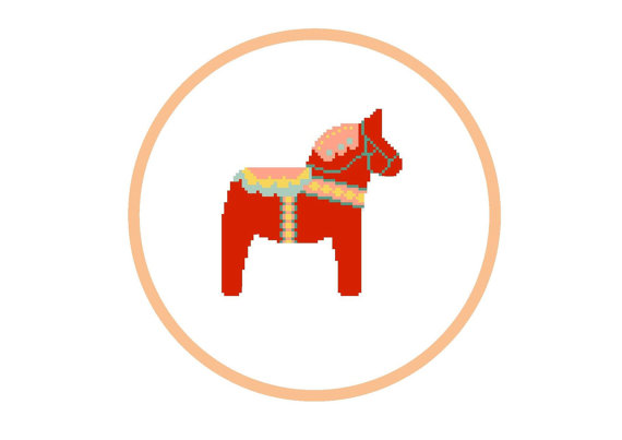 Dala horse - PDF modern cross stitch pattern