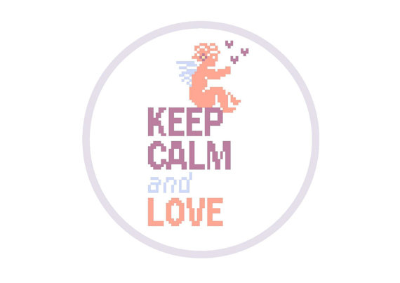 Keep Calm and Love - cross stich pattern