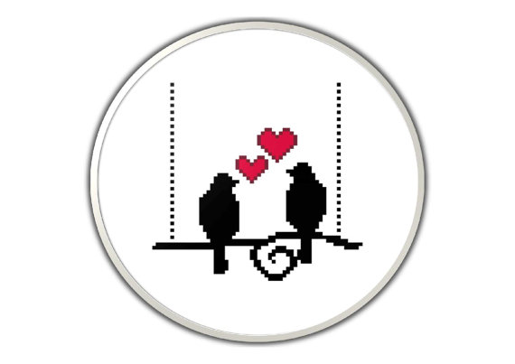 Love birds silhouette - PDF cross stitch pattern