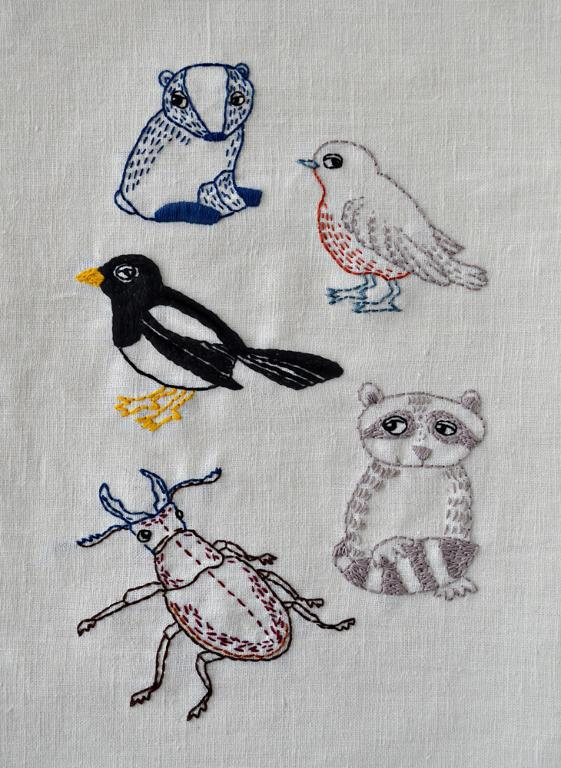 5 woodland animals embroidery pattern