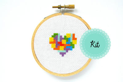 Tetris Heart Cross Stitch Kit