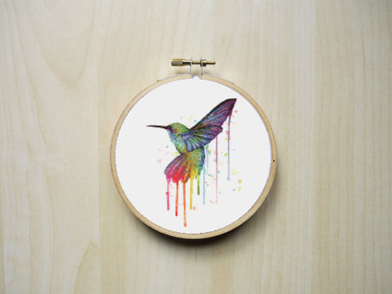 Cross Stitch Pattern Acuarela Colibrí
