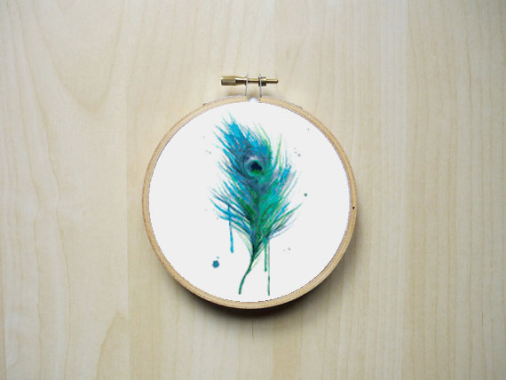 Watercolour Peacock Feather Modern Counted Cross Stitch Pattern | Instant PDF Download