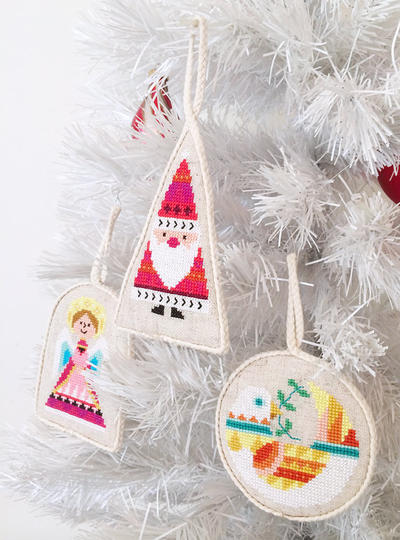 Christmas Ornaments - set of six - modern cross stitch pattern PDF